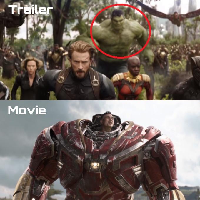 """<p> Trong trailer<em> Avengers: Infinity War </em>(2018), nhà khoa học Bruce Banner xuất hiện với hình dạng đã biến đổi thành Hulk. Trong phim, Hulk không hề xuất hiện ở cảnh đánh nhau với quân đoàn Thanos. Ngay đầu phim, Hulk đã bị Thanos đánh tơi tả. Sau đó, dù Banner cố gắng gọi thế nào, Hulk cũng không chịu """"hiện nguyên hình"""". Black Panther đã phải cấp cho Banner bộ giáp để tham gia trận chiến mà không có sự hỗ trợ của Hulk.</p>"""