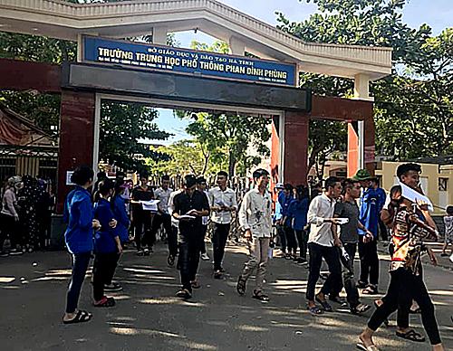 Điểm thi THPT Phan Đình Phùng, TP Hà Tĩnh. Ảnh: Đoàn phường Bắc Hà.
