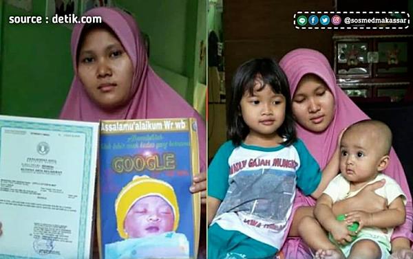 Ella Karin, mẹ của cậu bé Google khoe giấy chứng nhận khai sinh tên con.