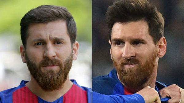 Reza Parastesh (trái) có ngoại hình giống với ngôi sao bóng đá Messi.
