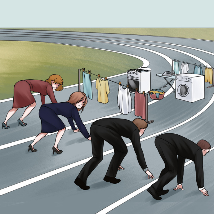 <p> Khác với đàn ông, phụ nữ luôn phải chạy đua với việc ở công ty, việc nhà và phải chăm lo hết mực cho gia đình.</p>