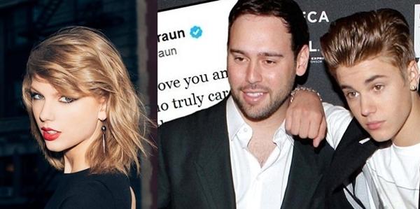 Vụ ồn ào giữa Taylor và quản lý của Justin Bieber đang là tâm điểm của Hollywood.