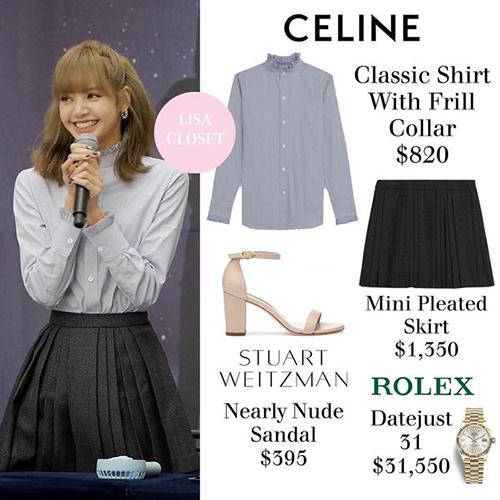 Tuy nhiên mức giá của set đồ này thì không đơn giản tí nào. Chiếc sơ mi của cô nàng có giá đến 19 triệu đồng, trong khi đó chân váy giá gần 31 triệu đồng. Đắt giá nhất là chiếc đồng hồ Rolex được nữ idol mix kèm, giá hơn 730 triệu đồng.