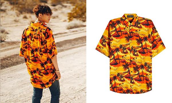Chiếc áo sơ mi họa tiết nhiệt đới cũng là một món đồ rất hợp với tinh thần chung của MV này. Thiết kế đến từ Balenciaga giá 750 USD (khoảng 18 triệu đồng).