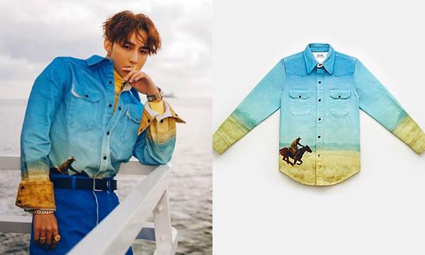 Thiết kế denim của Calvin Klein giá 370 USD (khoảng 9 triệu đồng) được nam ca sĩ mix cùng áo cổ lọ phía trong tăng độ chất.