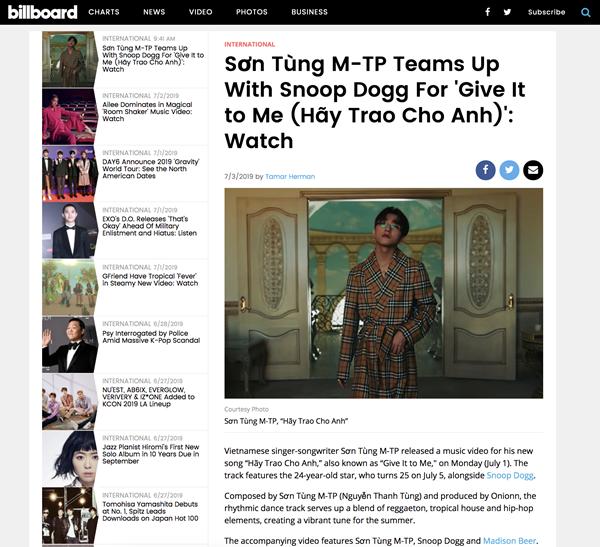 Trang âm nhạc quốc tế Billboard có bài viết về Sơn Tùng M-TP.