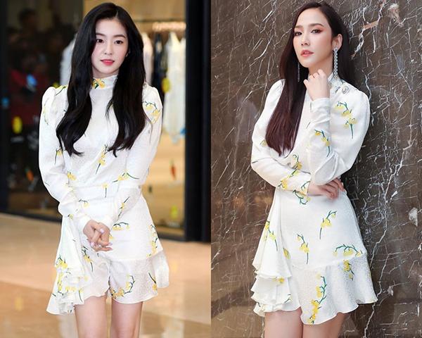 Trước Wendy, Irene cũng đụng váy họa tiết hoa với