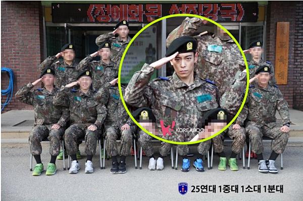 T.O.P nhập ngũ lần đầungày 9/2/2017 với vai trò cảnh sát nghĩa vụ quân sự.