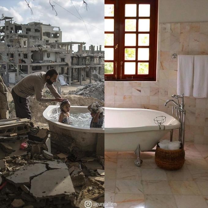 <p> Thay vì được sử dụng phòng tắm đầy đủ tiện nghi, những đứa trẻ kia đang phải tắm giữa một khung cảnh đổ nát do bom đạn gây ra.</p>