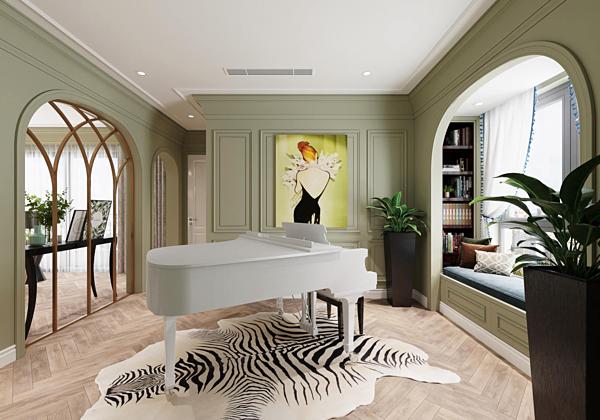 Chiếc piano được đặt giữa nhà, là nơi Mạnh Trường và con gái tập đàn.