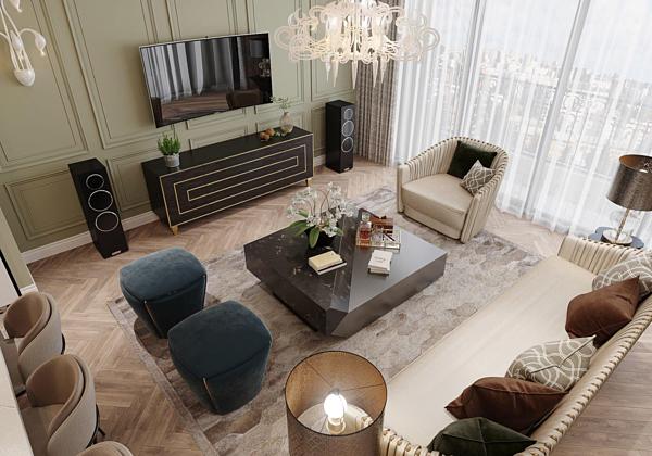 Mạnh Trường chia sẻ, căn hộ của gia đình anh sẽ hoàn thành trong khoảng 3-4 tháng nữa. Nhà mới có phòng khách rộng rãi, được bày trí hiện đại.