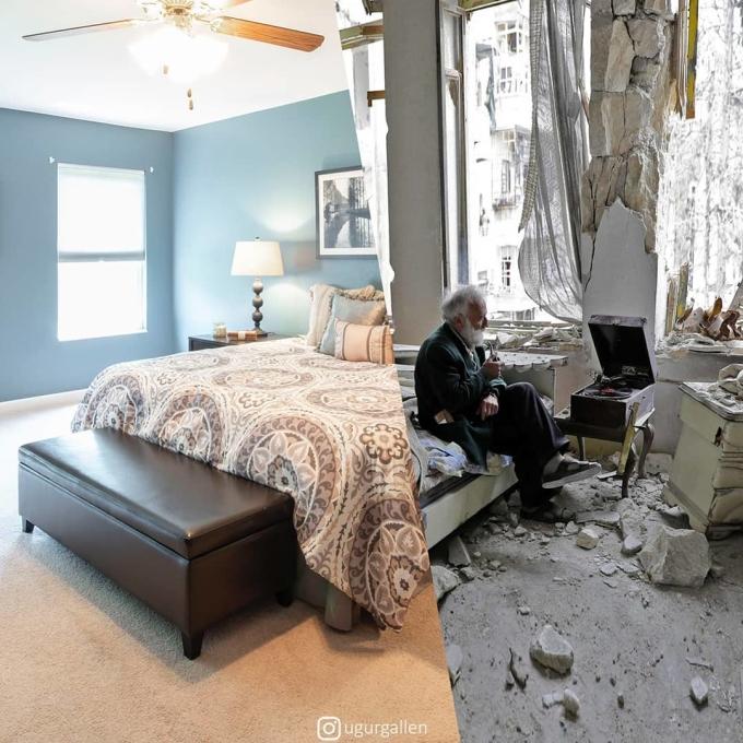 <p> Ở một thế giới khác, họ mong ước được ngủ yên giấc trên chính chiếc giường của mình mà không phải lo sợ bị thả bom, bị tấn công.</p>