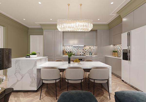 Bàn ăn, tủ bếp tông màu trắng nhã nhặn. Khu vực bếp được bố trí đèn chùm, tạo không gian ấm cúng cho gia đình khi dùng bữa.