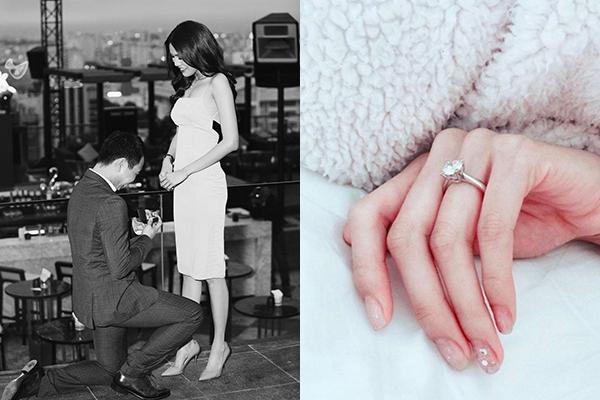 Lan Khuê từng được doanh nhân Tuấn John quỳ gối cầu hôn với chiếc nhẫn có kiểu dáng mảnh mai, tinh tế, gắn một viên kim cương nổi bật. Chiếc nhẫn này có giá khoảng 1,2 tỷ đồng.