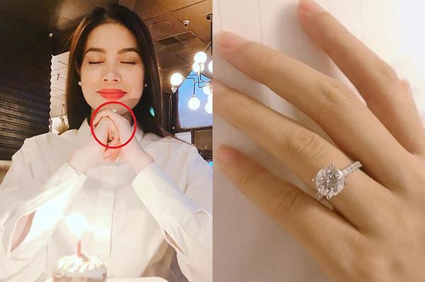 Nhiều mỹ nhân Việt cũng từng đính ước với bạn trai bằng những chiếc nhẫn kim cương siêu to khổng lồ. Dịp 14/2 vừa qua, Phạm Hương xác nhận với báo giới đã đính hôn cùng bạn trai ở Mỹ. Chiếc nhẫn cô được tặng có kiểu dáng, mức giá tương tự Đông Nhi.
