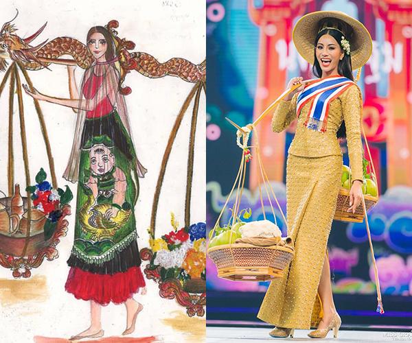 Văn hóa gồng gánh bán hàng rong xuất hiện trên cả bản vẽ trang phục dân tộc Việt Nam và trang phục của người đẹp Thái.