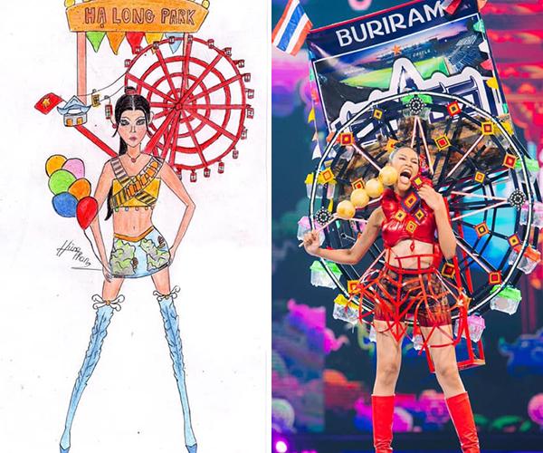 Nhiều fan Việt cho rằng, những ý tưởng bản vẽ này được BTC Miss Universe Việt Nam đăng tải trên mạng xã hội từ tháng 5 để bình chọn, vì thế có khả năng các thí sinh Miss Grand Thailand 2019 đã dựa vào đó để học hỏi.