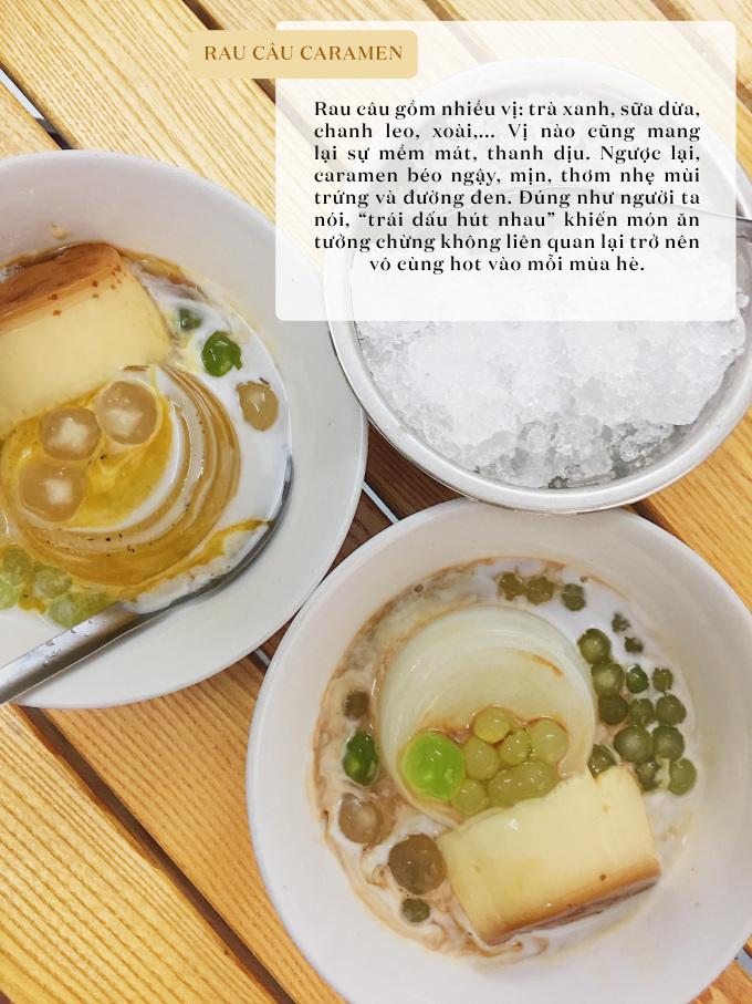 """<p> Rau câu caramen nhất định phải thử tại khu tập thể Lương Định Của, khu ăn uống sinh viên Tạ Quang Bửu và số 2 Lê Phụng Hiểu.</p> <p> Bỏ ra 20k - 30k là bạn có thể thưởng thức món ăn """"hot"""" nhất mùa hè này rồi!</p>"""