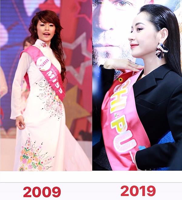 Trên trang cá nhân, Chi Pu khiến fan thích thú khi so sánh ảnh thời thi Miss Teen và hiện tại. Sau đúng 10 năm, nữ ca sĩ có sự thay đổi rõ rệt về nhan sắc, được khán giả khen là dậy thì thành công.