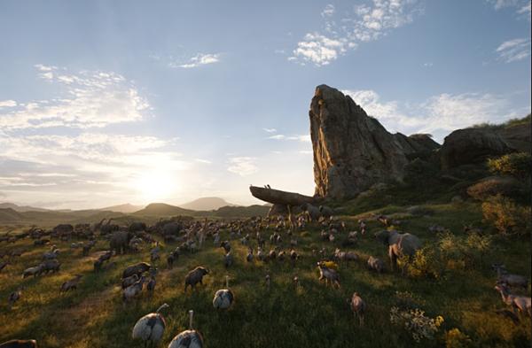 Khung cảnh châu Phi được tái hiện bằng công nghệ CGI tiên tiến.