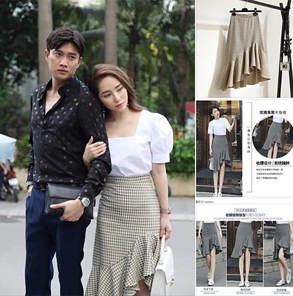 Chân váy kẻ caro Nhã từng diện phù hợp với những nàng công sở có phong cách điệu đà, chiều cao trung bình. Mẫu váy này cũng được nhiều shop đăng bán với giá khoảng 200-300k.