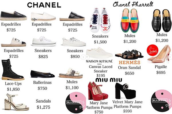 Giày dép của cô nàng chủ yếu đến từ những thương hiệu đẳng cấp như Chanel, Gucci, Saint Laurent, Vetements...