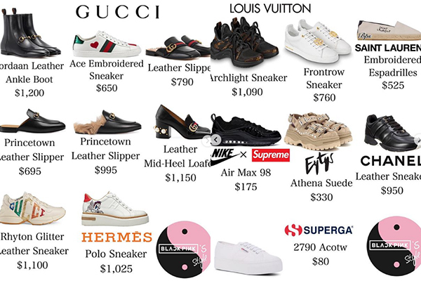 Tủ giày của cô nàng có nhiều thiết kế đến từ thương hiệu Gucci, Louis Vuitton với mức giá đắt đỏ.