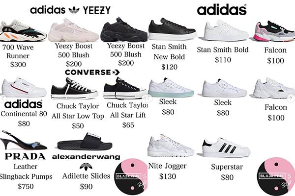 Ji Soo còn là fan trung thành của Adidas với những phom giày thể thao cơ bản của hãng này. Tổng cộng, nữ idol đang sở hữu gần 50 đôi giày, tổng trị giá ước tính 19.000 USD (khoảng 440 triệu đồng).
