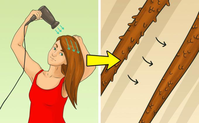 <p> <strong>2. Chọn sai hướng đi của luồng khí</strong><br /> Sấy khô tóc từ gốc đến ngọn, theo hướng mọc của tóc. Nếu không, các vảy tạo nên lớp biểu bì sẽ mở ra, điều này làm cho tóc bị xoăn và dễ bị rối hơn. Sấy khô tóc từ gốc đến ngọn giúp tăng độ bóng tự nhiên cho tóc.</p>