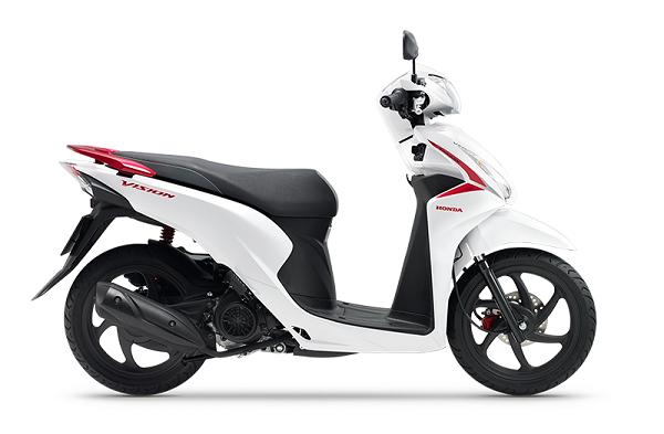 Honda Vision màu trắng đen đỏ.