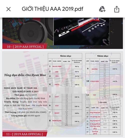 Bức ảnh hé lộ dàn line-upAAA 2019.