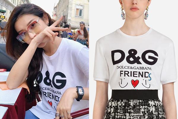 Thiết kế Dolce & Gabbana Huyền My đang diện được bán với giá 425 USD (khoảng10 triệu đồng).