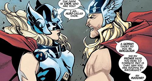 Thor bất ngờ khi thấy phiên bản nữ của mình.