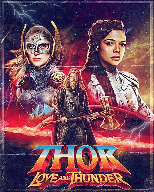 Người hâm mộ thiết kế posterThor: Love and Thunder, tưởng tượng Jane (trái) trong tạo hình Mighty Thor.