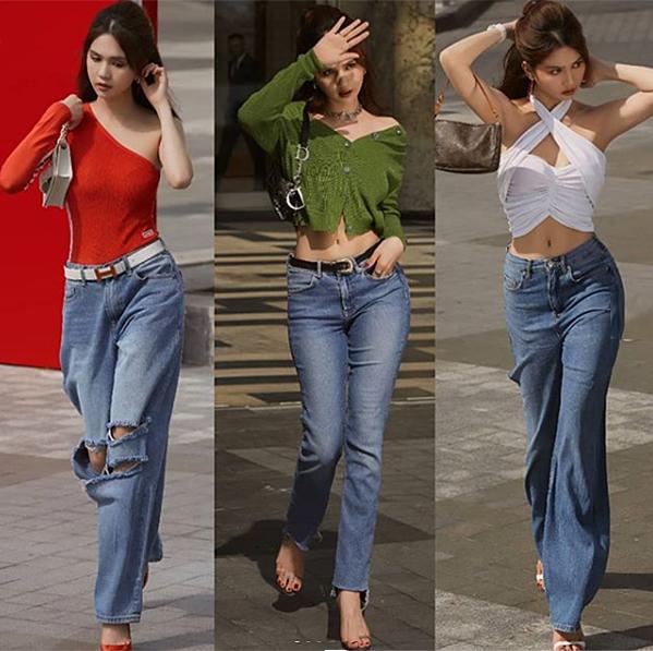 Nữ hoàng nội y cập nhật rất nhanh nhạy các xu hướng mới và thực hiện liên tục các bộ ảnh street style chất lừ. So với lúc đi sự kiện, phong cách cool ngầu này của Ngọc Trinh đang nhận được nhiều phản hồi tích cực.