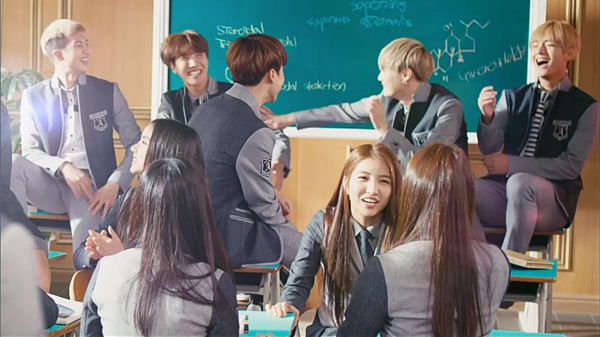 BTS và GFriend trong một MV quảng cáo năm 2016.