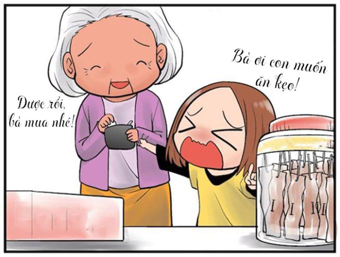 """<p> Nhớ mỗi khi """"mè nheo"""" đòi bà mua quà ăn vặt: Cháu muốn ăn kẹo, cháu muốn ăn bim bim... Bà không nghiêm khắc như mẹ, bà luôn dễ mềm lòng và chiều theo những sở thích của bạn.</p>"""