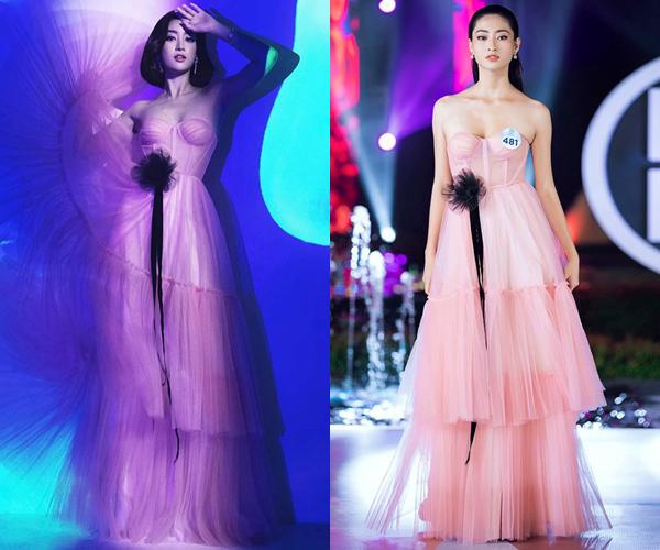 Có nhiều điểm tương đồng về gương mặt, chiều cao, vóc dáng, Đỗ Mỹ Linh và Lương Thùy Linh một chín một mười khi cùng diện một bộ váy.