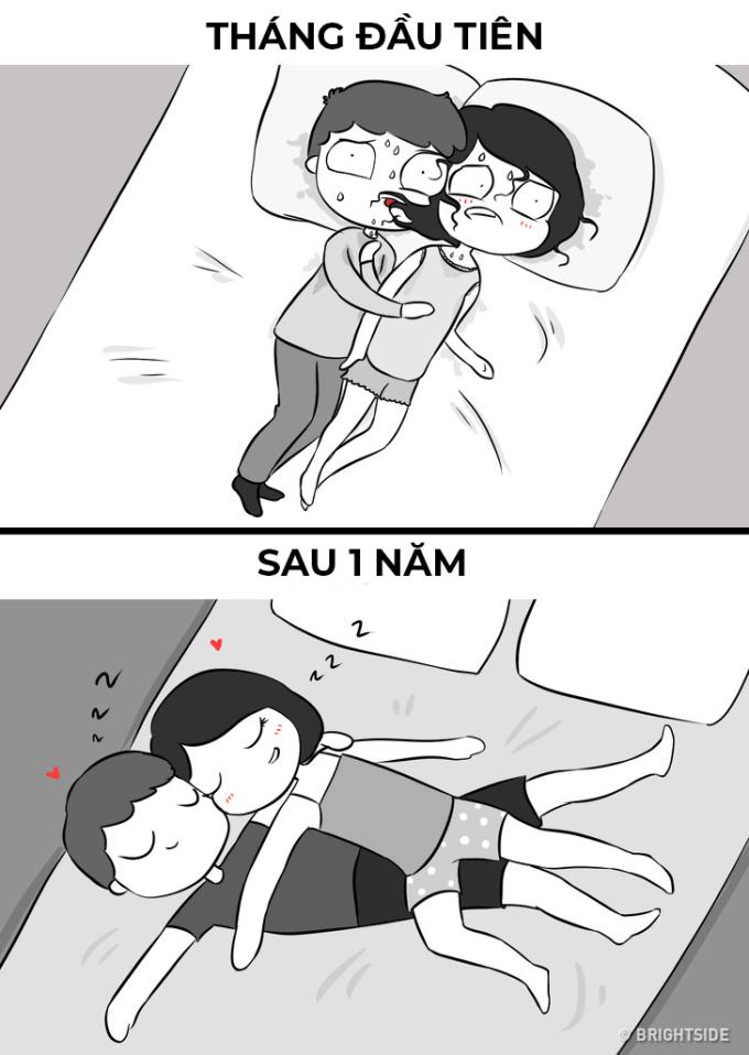 <p> Khi mới sống chung, chỉ ôm nhau lúc ngủ thôi cũng làm cả hai ngượng ngùng.</p>