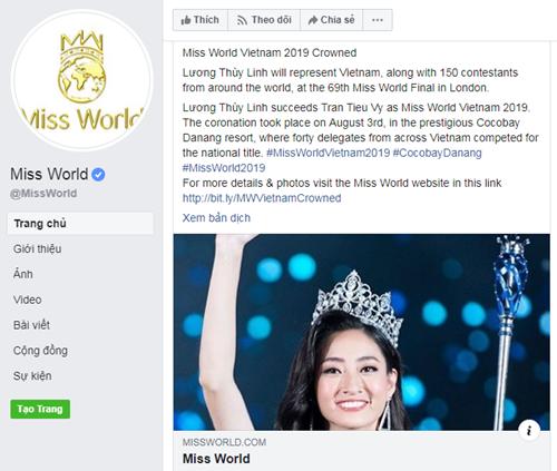 Lương Thùy Linh được cập nhật thông tin trên trang chủ Miss World