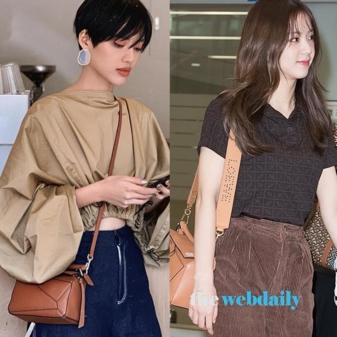 <p> Chiếc túi da Puzzle Bag của Loewe giá 2.115 USD (hơn 49 triệu đồng) được Khánh Linh phối cùng trang phục thời thượng, còn Ji Soo đơn giản hơn. Tuy nhiên nữ idol nhà YG chịu chi sắm thêm dây đeo túi to bản giá 550 USD (gần 13 triệu đồng) đi kèm.</p>