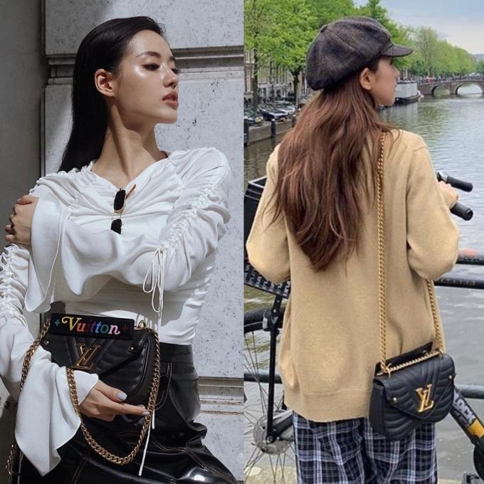"""<p> Kiểu túi """"hot hit"""" của Louis Vuitton là New Wave Chain Bag giá 1.990 USD (hơn 46 triệu đồng) tiếp tục được Khánh Linh và Ji Soo yêu thích. </p>"""