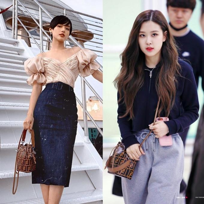 <p> Khánh Linh và Rosé từng lăng xê túi bucket giá 1.710 USD (gần 40 triệu đồng) của nhà mốt Fendi.</p>