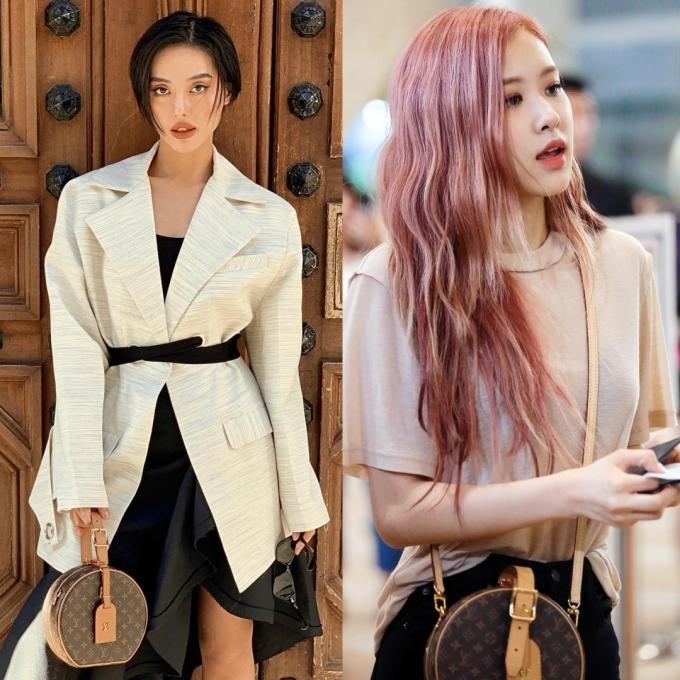 """<p> Một trong những chiếc túi được Khánh Linh """"sủng ái"""" nhất là Petite Boite Chapeau giá 4.200 USD (gần 100 triệu đồng). Cô nàng kết hợp túi này với nhiều trang phục khác nhau. Đây cũng là item Rosé yêu thích và diện tại sân bay không ít lần.</p>"""