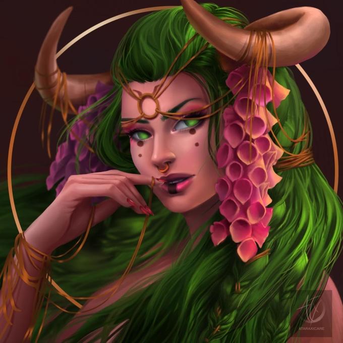 <p> Nữ thần Kim Ngưu với mái tóc màu xanh lá, đại diện cho đất đai thiên nhiên và cây cỏ.</p>