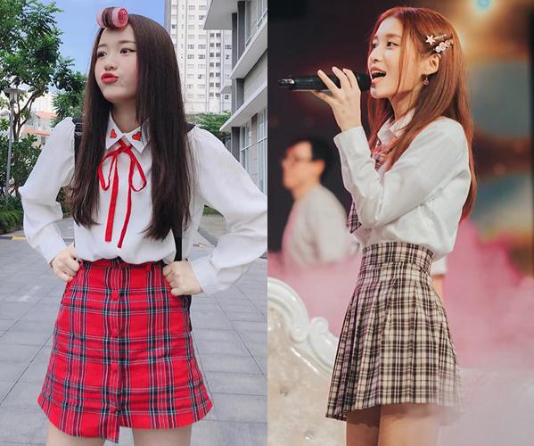 Ở tuổi 19, Han Sara vẫn mê mệt mặc đồng phục nữ sinh. Kể cả ra phố hay đi diễn, mỹ nhân 10x vẫn thích mặc sơ mi trắng cùng chân váy ngắn.