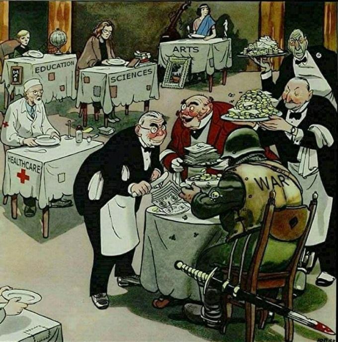 <p> Dù có rất nhiều vấn đề cần quan tâm, cần được đầu tư như y tế, giáo dục, khoa học, nghệ thuật... rất nhiều quốc gia trên thế giới chỉ hào phóng vung tiền cho những cuộc chiến phi nghĩa.</p>
