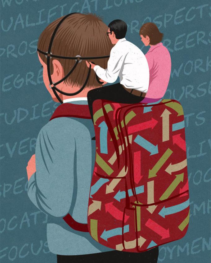 """<p> Những đứa trẻ phải sống theo mong muốn, sự chỉ đạo của bố mẹ. Chúng đến trường với những chiếc ba lô đầy sách, và """"cõng"""" cả áp lực, kỳ vọng từ bố mẹ.</p>"""