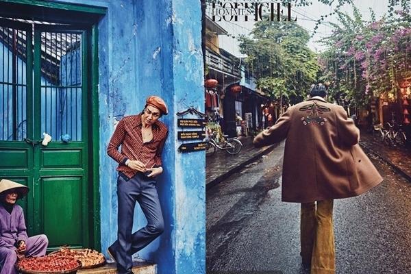 Người mẫu Kim Young Kwang từng đặt chân tới Hội An vào 2016. Bộ ảnh chụp cho tạp chí L'offciel Hommes của nam người mẫu cao 1m87 giữa không gian cổ kính từng gây nhiều chú ý.