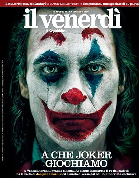 Tạo hình Joker của Joaquin Phoenix, đăng tải trên bìa ấn phẩm La Repubblica, Ý.